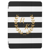 Custom Initial Preppy IPad Case With Golden..
