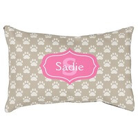 Beige Paw Prints And Pink Monogram & Name Small..
