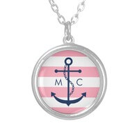 White Blue Pink Monogram Stripes Anchor Custom..