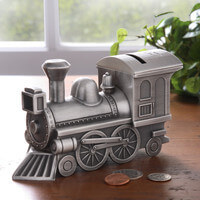 Personalized Pewter Train Bank - Free Engraving