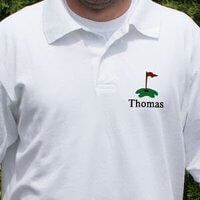 Personalized Embroidered Golf Polo Shirt Hole..
