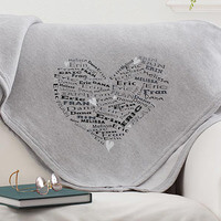 Personalized Sweatshirt Fleece Blanket - Heart..