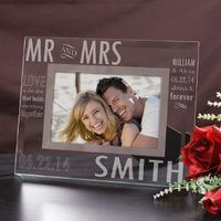 Engraved Mr. And Mrs. Glass Picture Frame