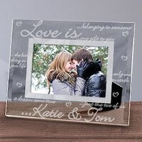 Engraved Love Is..Glass Picture Frame