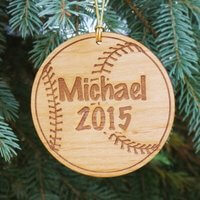 Personalized Baseball Christmas Ornament