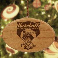 Engraved Wooden Baseball Ornament