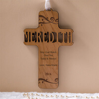 Personalized Wood Baby Cross - Bless This Child