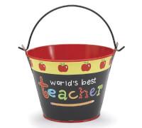 Worlds Best Teacher Tin Pail