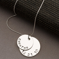 Personalized Mothers Stacking Disc Necklace - 2..