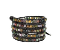 Beautiful Gemstones Leather Wrap Bracelet