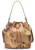 Leather Drape Map Print Handbag