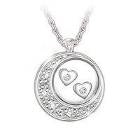 Floating Diamond Hearts Sterling Silver Pendant
