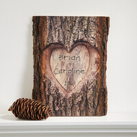 Personalized Romantic Wall Plaque - Carved Heart