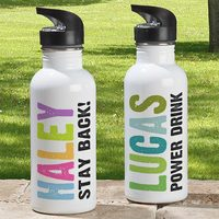 Personalized Kids Water Bottle - Hands Off