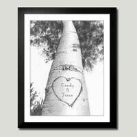 Personalized Framed Art- Love Birch Tree
