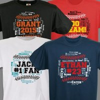 Personalized Baseball Word-Art T-Shirt