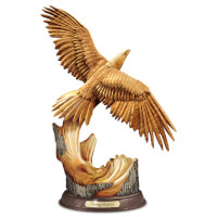 Rising Majesty Eagle Sculpture With Hand-Carved..