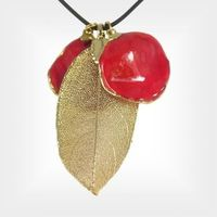 24k Gold Dipped Rose Leaf And 2 Petal Pendants