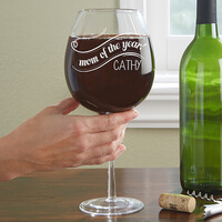Personalized Wine Glass - Whole Bottle - Mom Of..