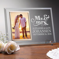 Personalized Glass Wedding Frames - Mr & Mrs