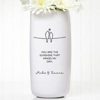 Personalized Romantic Vase - Lovebirds
