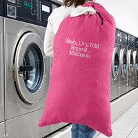 Embroidered Pink Laundry Bag