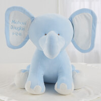 Embroidered Jumbo Plush Baby Elephant - Blue