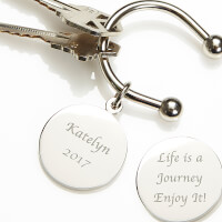 Engraved Silver Key Ring - Silver Plated Life Is..