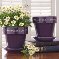 Personalized Flower Pots - Purple Ceramic