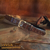 Amish Crafted Brown Alligator Skin Leather Belt