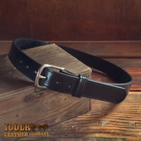 Amish Crafted Black Stitched Bridle Leather Belt
