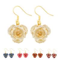 24K GOLD DIPPED ROSE EARRING DIAMOND FLOWER-..