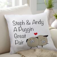 Puggin Pair Throw Pillow