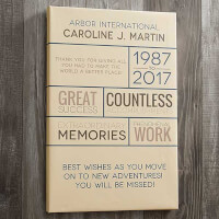 Retirement Wishes 12x18 Personalized Canvas Print