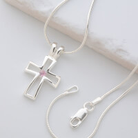 Silver Christian Cross Necklace With Swarovski..