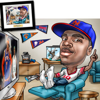 Hand Drawn Caricature For Sports Fanatics..