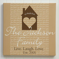Personalized Canvas Art 20x20 - Family Wall Art