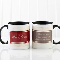 Personalized Teacher Coffee Mugs - Black Handle..