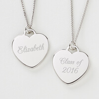 Personalized Graduation Necklace - Silver Heart