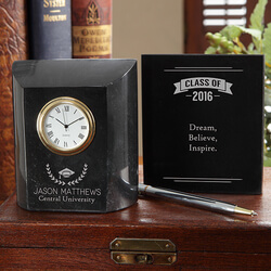 Personalized Marble Desk Clock -..