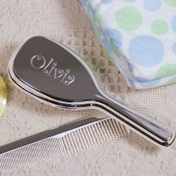 Engraved Silver Baby Comb And..