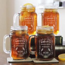 Engraved Whiskey Mason Jar Set