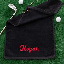 Black Personalized Golf Towel With..