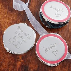 Personalized Silver Compact Mirror..