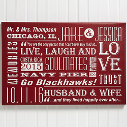 Personalized Couple Canvas Print..
