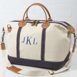 Embroidered Monogram Canvas Duffel..