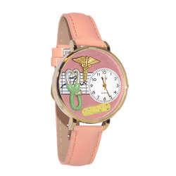 Nurse 2 Pink Watch In Gold (Large)