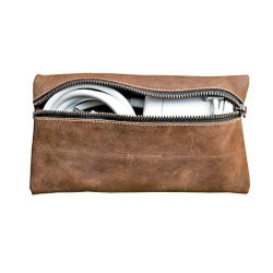 Rustic Leather Charger Case for Laptop