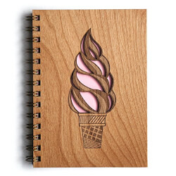 Ice Cream Cone Lasercut Wood Journal