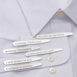 Personalized Dress Shirt Collar Stays - Secret Message